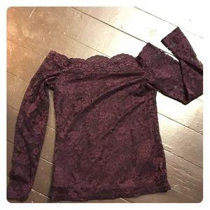 Dynamite l Off the Shoulder Purple lace top